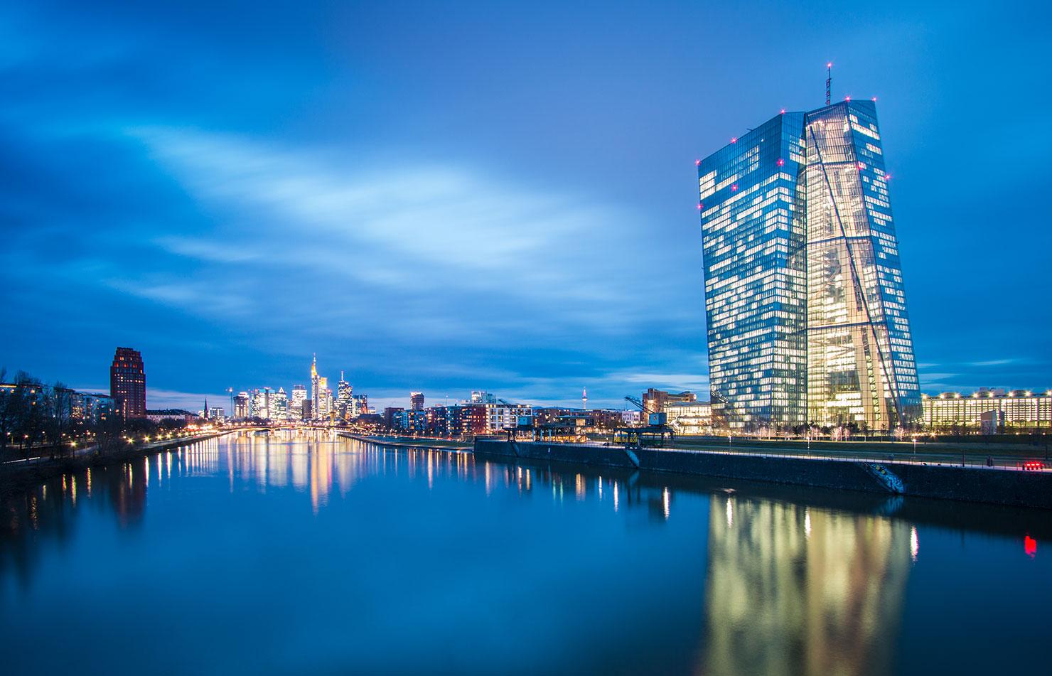 Frankfurt EZB Skyline Nacht