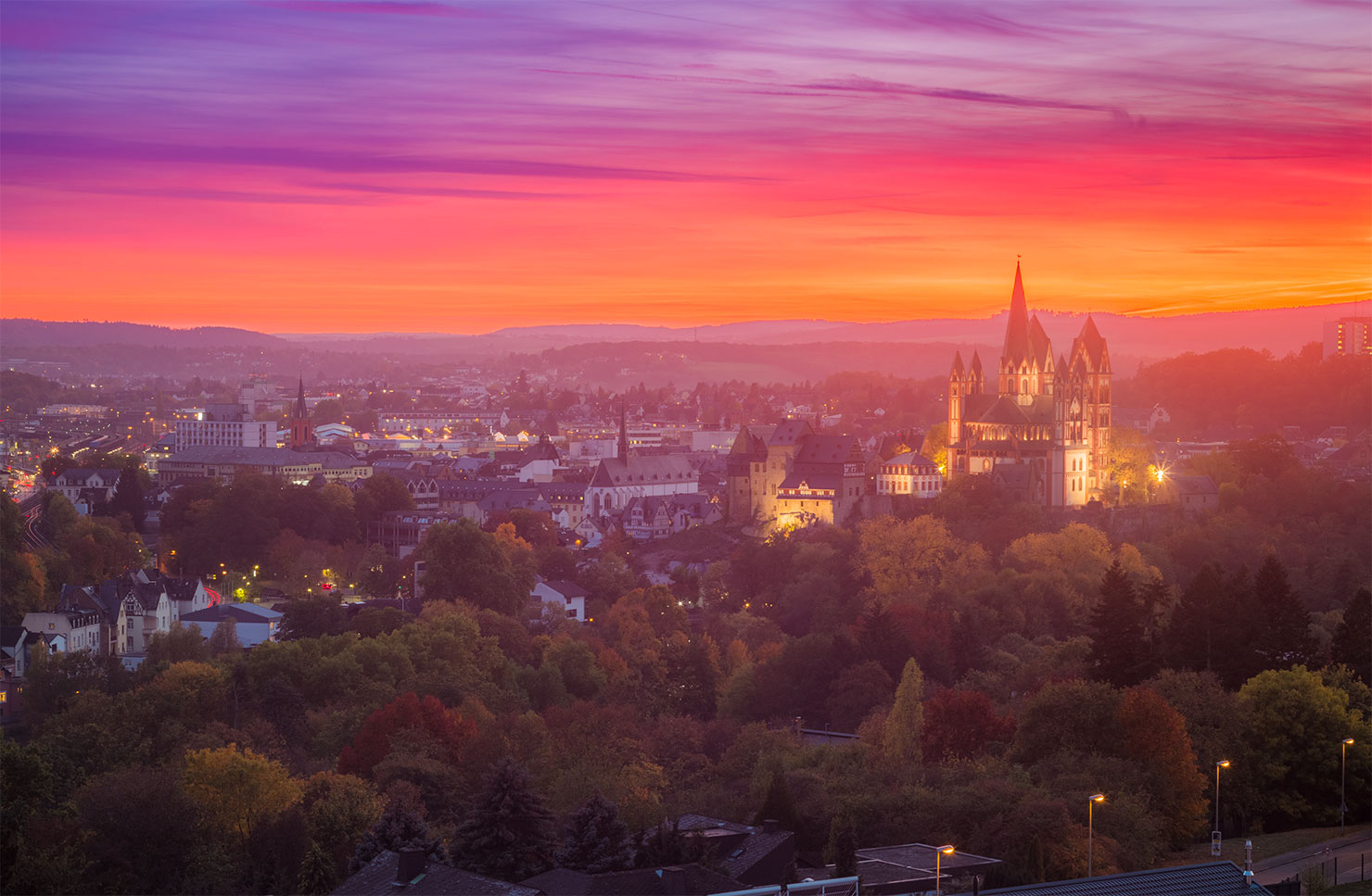 Limburg Herbst Sonnenuntergang