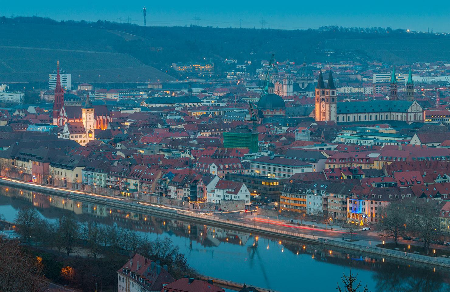 Würzburg Winter Blick Käppele
