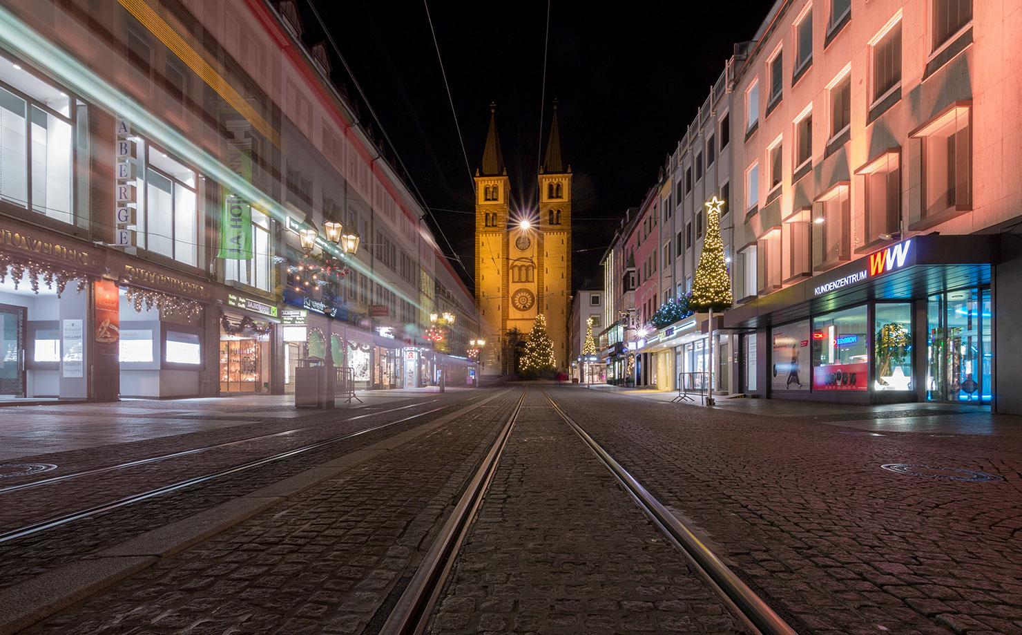 Würzburg Dom Weihnachten Nacht
